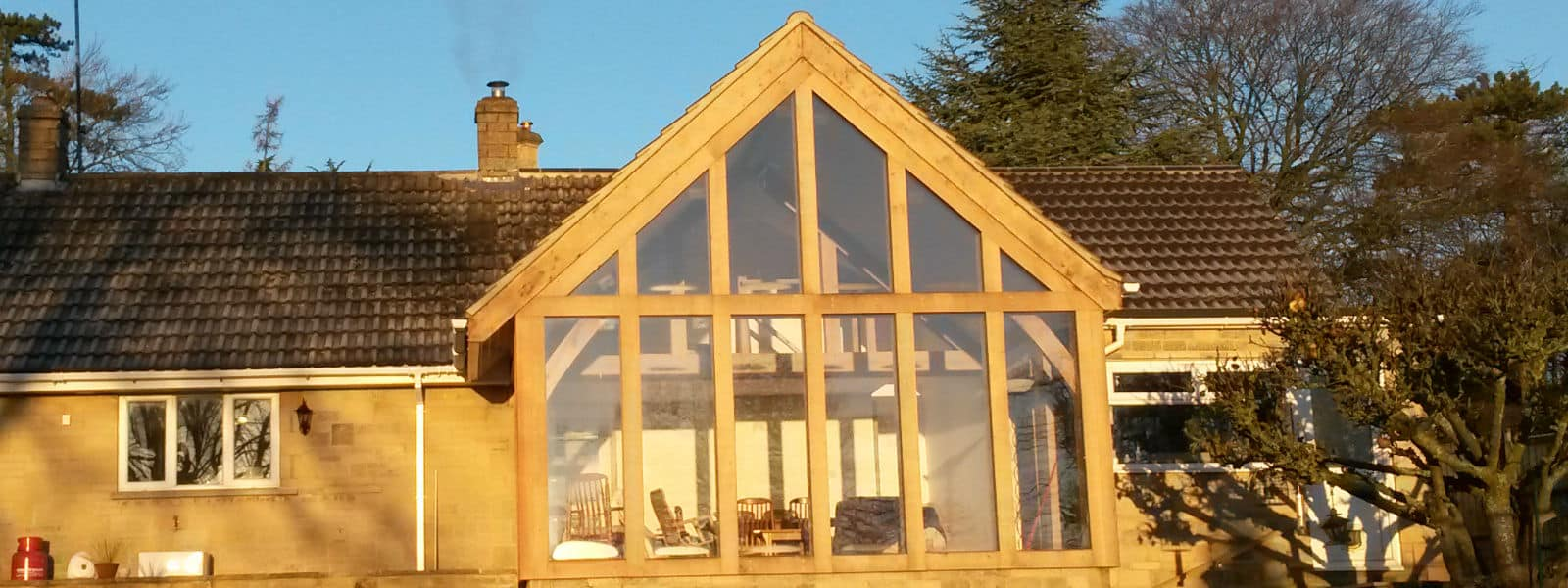 Oak Gabled Living Room Extension in Edge